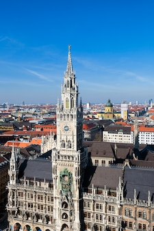 View of medieval town hall building with spires munich germany.