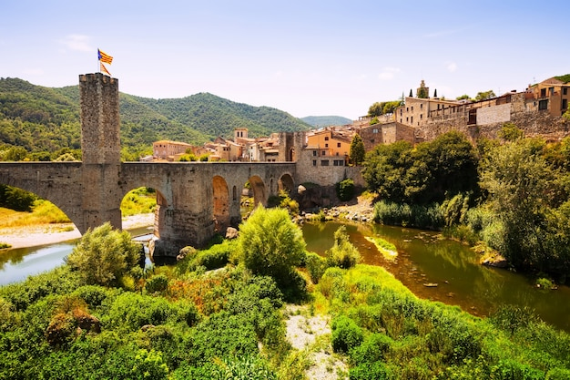 View of medieval town with bridge