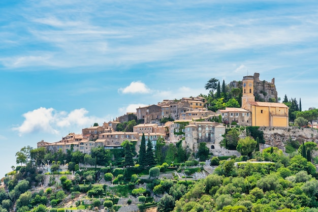 View of the medieval village of eze on the costa azul in france.