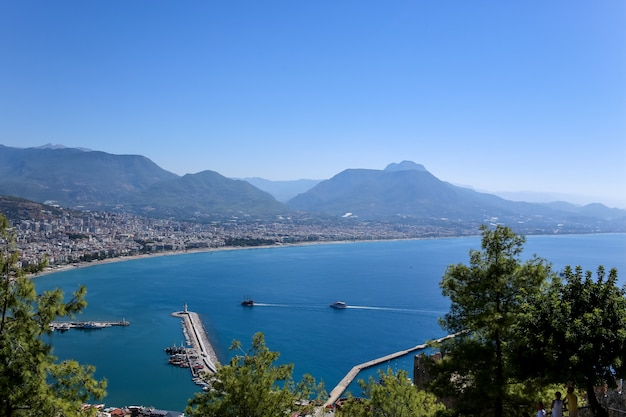 View of the mediterranean sea from the ancient fortress of alanya. turkey.  antalya