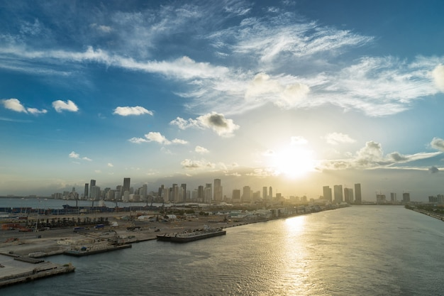 View of miami in the evening from a bird's flight. usa
