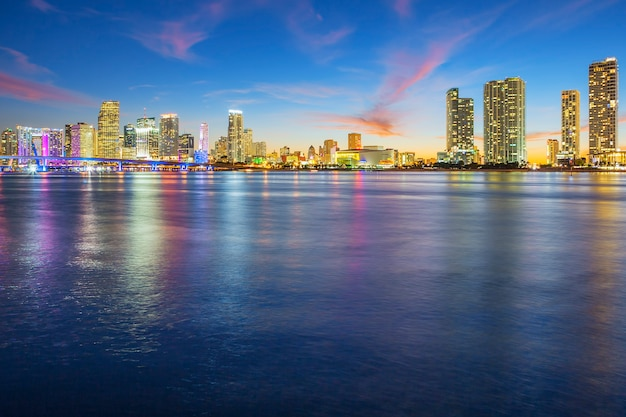 View of miami at sunset, usa.