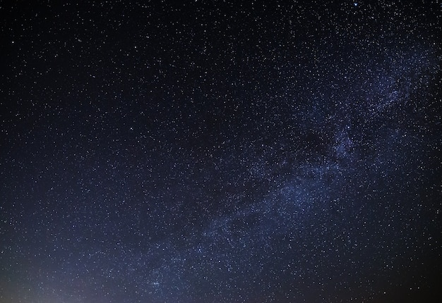 View of the milky way galaxy in the night sky with bright stars