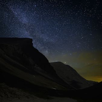 View of the milky way in a mountain valley