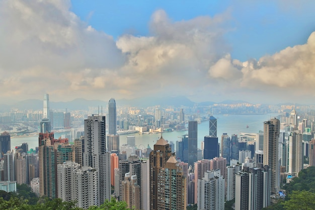 View of the modern city. hong kong from the victoria peak hill