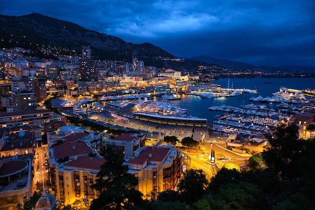 View of monaco in the night