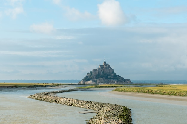 View of mont saint-michel in the manche department, normandy region, france