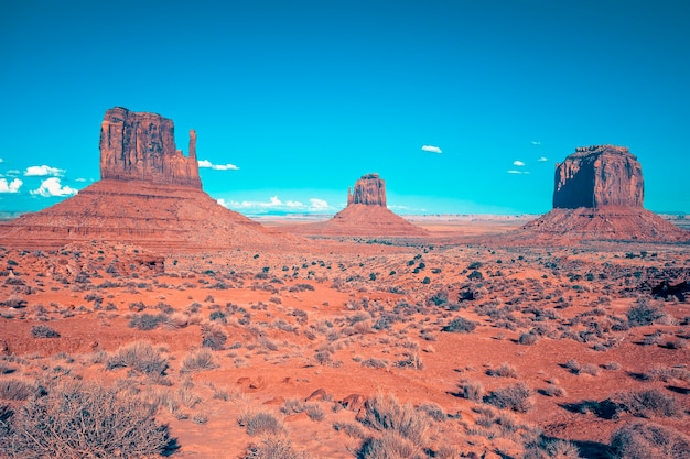 View of monument valley under the blue sky, usa