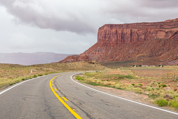 View of monument valley on the highway in navajo nation reservation in the usa