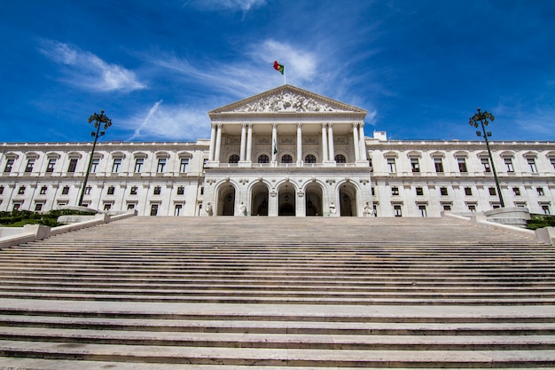 View of the monumental portuguese parliament (sao bento palace), located in lisbon, portugal.