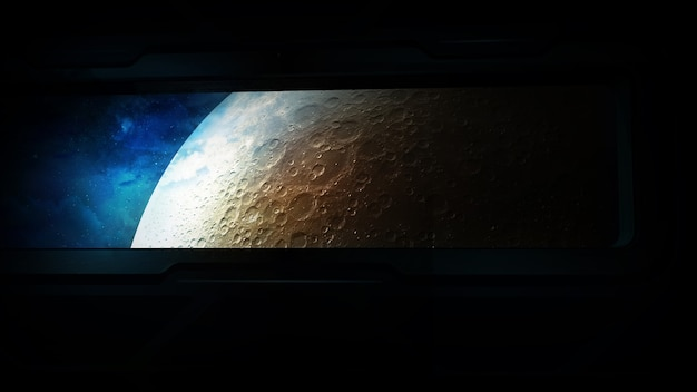 View of the moon from a spaceship