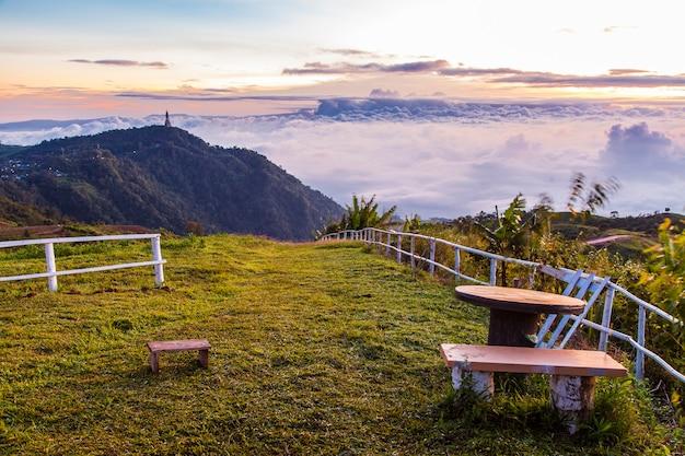 View in morning mist mountain, phu thap boek, phetchabun thailand.