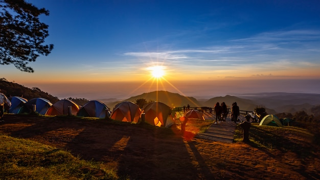 View of morning mist and sun rise at doi ang khang mountain thailand
