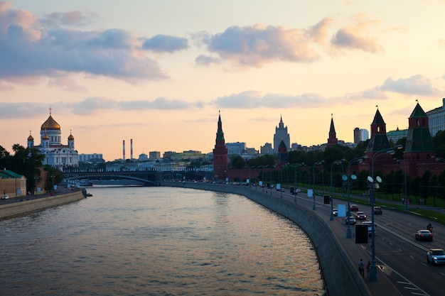 View of moscow  in dusk. russia