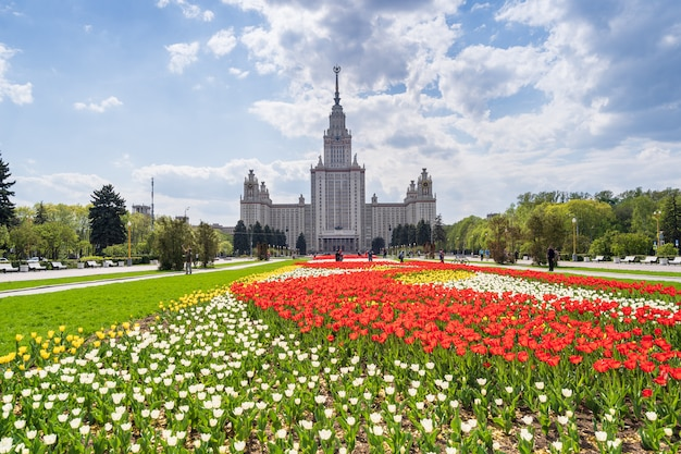 View of the moscow lomonosov state university in spring.