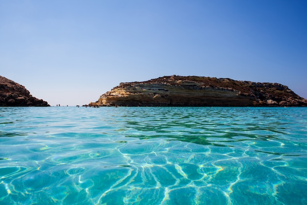 View of the most famous sea place of lampedusa called spiaggia dei conigli,