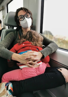 View of mother with daughter on her lap traveling by train