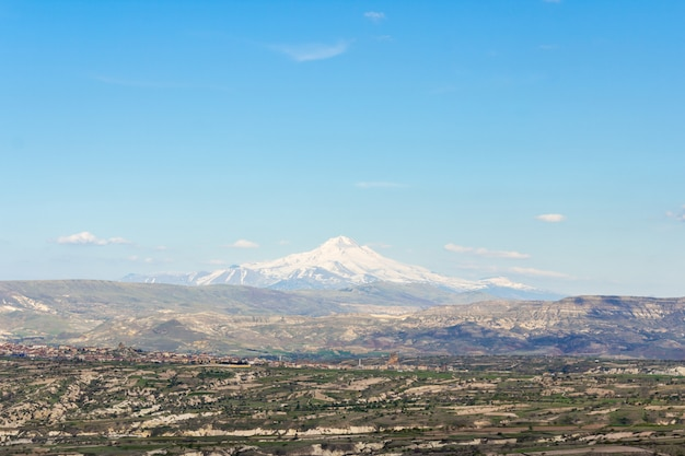 View of the mount erciyes from uchisar castle in cappadocia region.