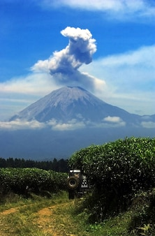 The view of mount semeru in lumajang, indonesia emits smoke from the crater
