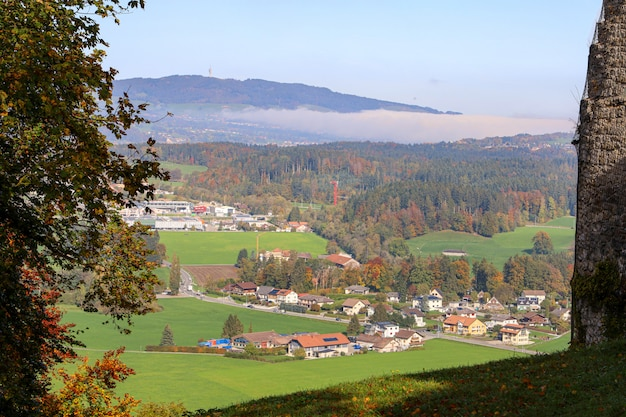 View of the mountain and nature park in autumn season at switzerland