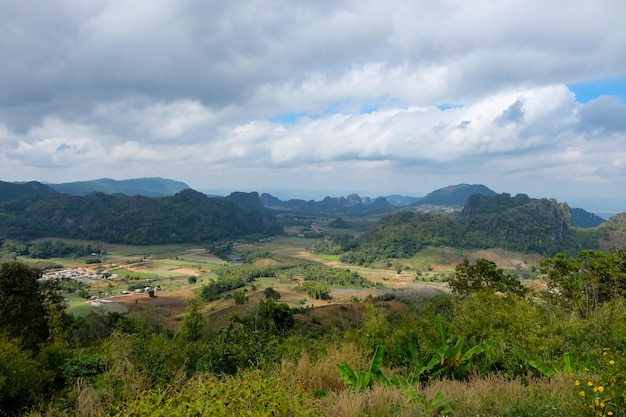 View of the mountain and nature park at thailand