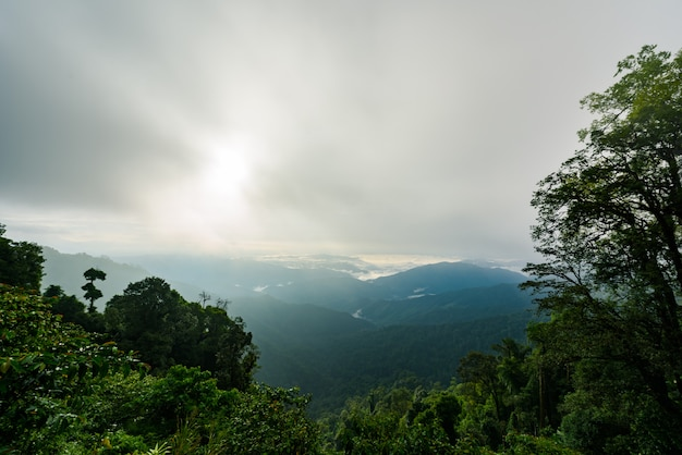 View of the mountain range and sea of mist in the morning