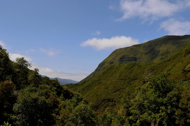 View of the mountain and the sky on the madeira island