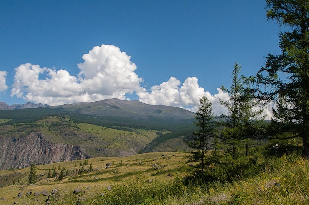 View of mountains, sky and clouds in altai, siberia