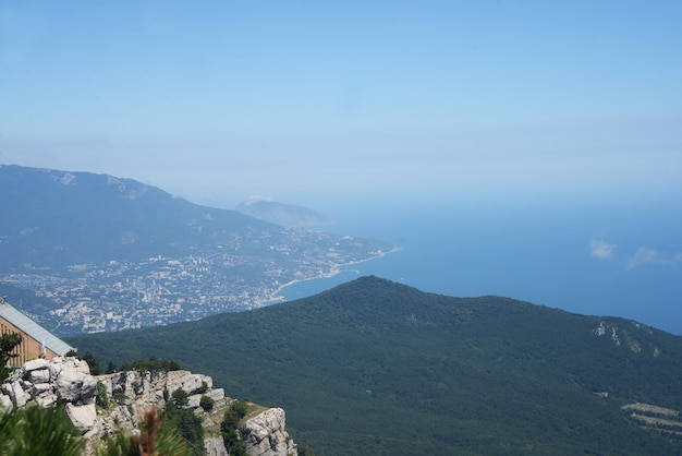 View of the mountains with the sea in the crimea yalta