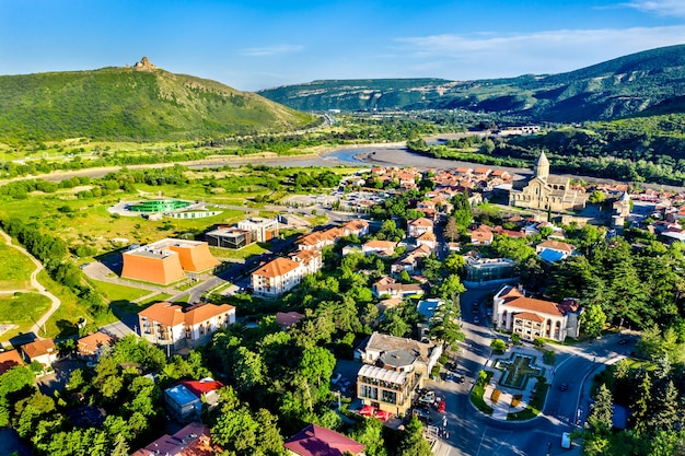 View of mtskheta with the svetitskhoveli cathedral and jvari monastery, georgia