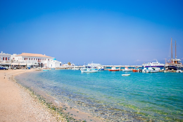 View of the mykonos town harbor in mykonos, cyclades, greece