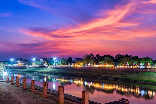 View the nan river in thailanda and  the park
