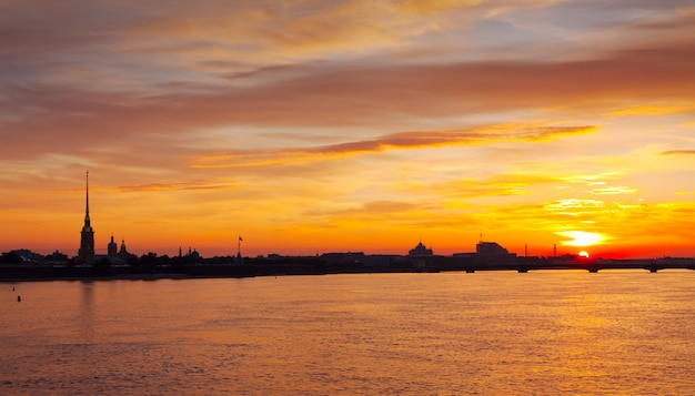 View of neva river summer dawn