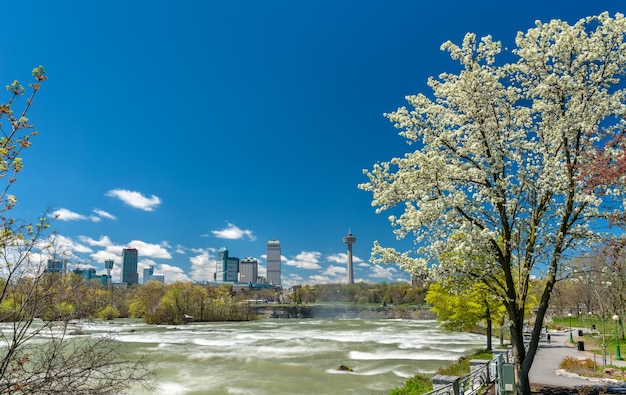 View of niagara falls city from the park on the us side