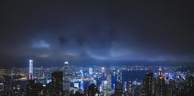 View of the  night modern city. hong kong from the victoria peak hill.