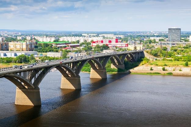 View of nizhny novgorod with molitovsky bridge