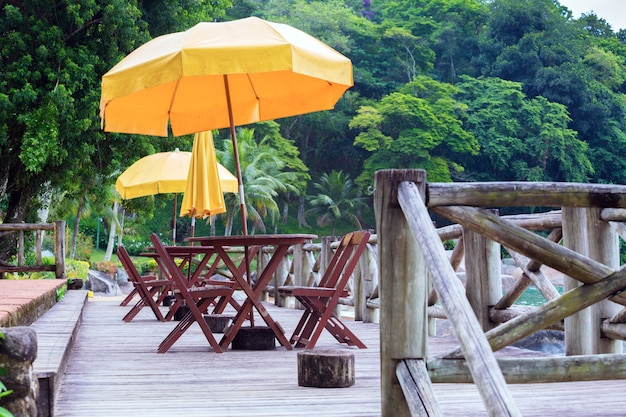 View of the oceanfront cafe on the jungle background, brazil
