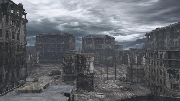 파괴된 포스트 묵시록 도시, 3d 그림