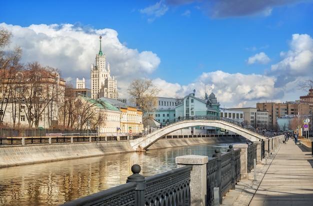 モスクワの高層ビルと川を渡る橋の眺め