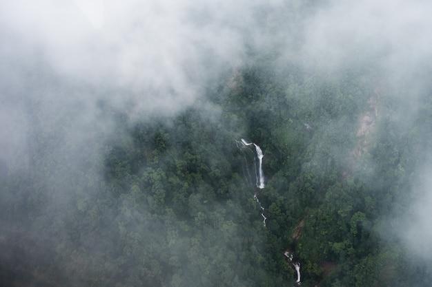 베트남 사파 국립공원의 깊은 숲에 있는 폭포 위의 전망