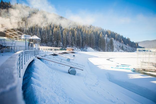 Вид красивых снежных гор и леса