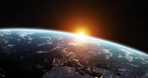 공간에서 푸른 행성 지구의보기