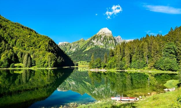 Вид на гору бруннелисток на озере оберзее в швейцарских альпах