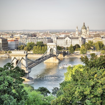 Вид на будапешт с цепным мостом, венгрия