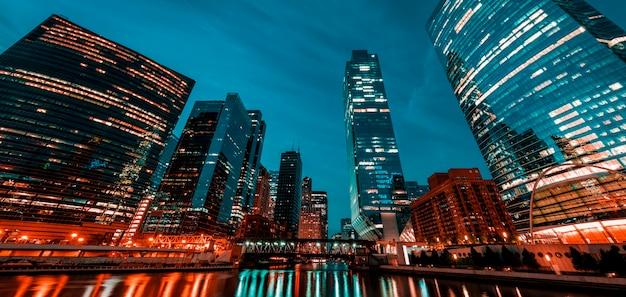 朝のシカゴの眺め、アメリカ。