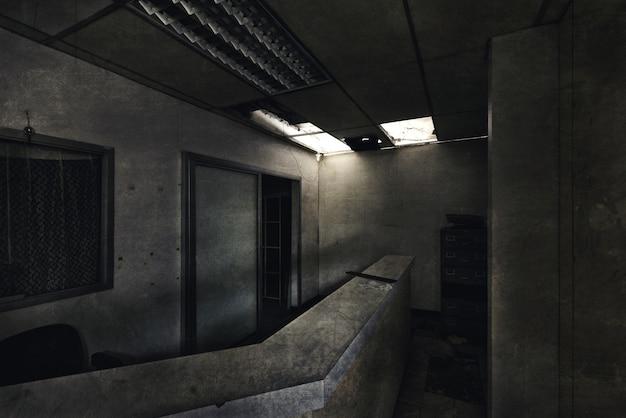 Psychiatric hospitalに放棄された暗い部屋の眺め