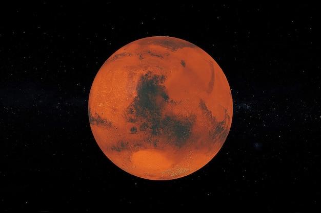 검은 하늘 배경에 우주에서 전체 큰 붉은 행성 화성의 보기. nasa에서 제공한 이 이미지의 요소입니다. 3d 렌더링