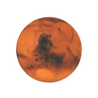 흰색 배경에 우주에서 전체 큰 붉은 행성 화성의 보기. nasa에서 제공한 이 이미지의 요소입니다. 3d 렌더링