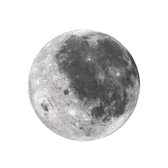 Вид полной большой супер луны из космоса на белом фоне. элементы этого изображения предоставлены наса. 3d рендеринг