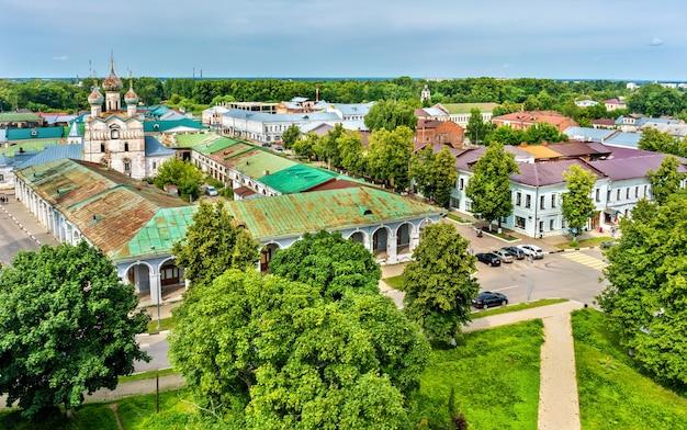 ロシアのヤロスラヴリ州ロストフでのゴスチンニ・ドヴォルの眺め